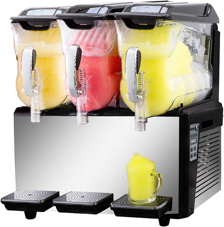 VBENLEM 110V Slushy Machine 30L Triple Bowl Margarita Frozen Drink Maker 800W Automatic Clean Day and Night Modes for Supermarkets Cafes Restaurants Snack Ba, Sliver