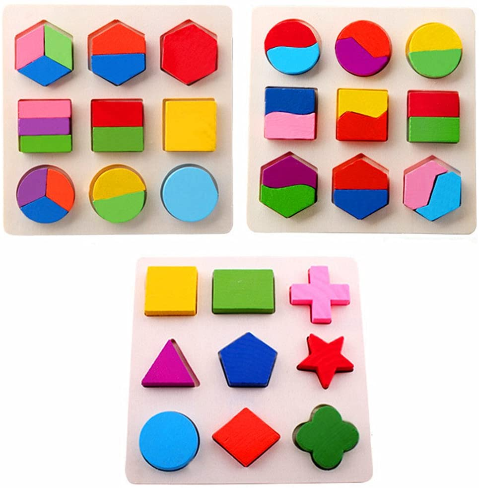 Amberetech Wooden Toys Color Math Shapes Geometric Puzzles,5.9inches,Pack of 3