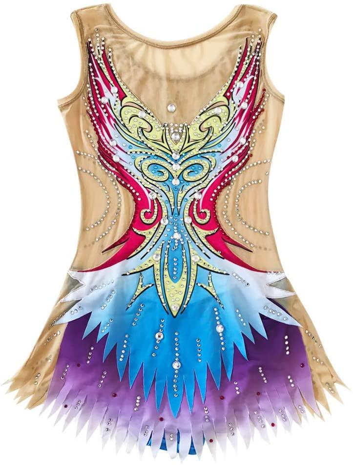 LIUHUO Rhythmic Gymnastics Leotards Girls Blue Spandex Slim Ballroom Dress Sleeveless Gymnastics Costumes