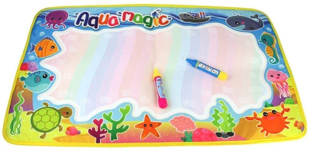Ocean Animal Edge Colorful Painting Area Magic Water Canvas Graffiti Mat Toys (Color : As Shown, Size : Show