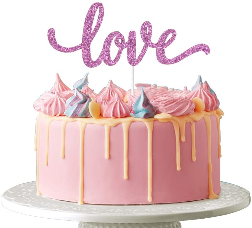 Love Cake Topper - Wedding Anniversary Marriage Engagement Baby Shower Birthday Party Photo Props, Pinkish Purple