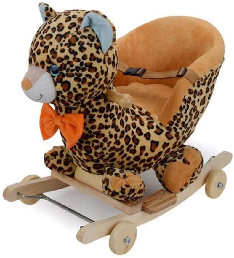 Kids Plush Ride-On,Wood + Plush、Leopard、Children's Rocking Horse,12 Months Or More Use、Plush Toys/Swing Toys、Wooden Rocking Horse、Gifts for Children (Color : Leopard Wheel)