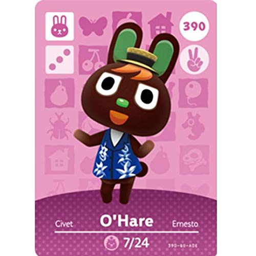 BestTom No.390 O'Hare ACNH Animal Villager Card Fan Made.Third Party NFC Card Bank Card Size Water Resistant for Switch/Switch Lite/Wii U