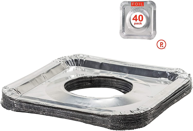 Aluminum Foil Square Stove Burner Covers - Disposable Bib Liners for Kitchen Gas Range 8.5 x 8.5 x .5 Inch (40)