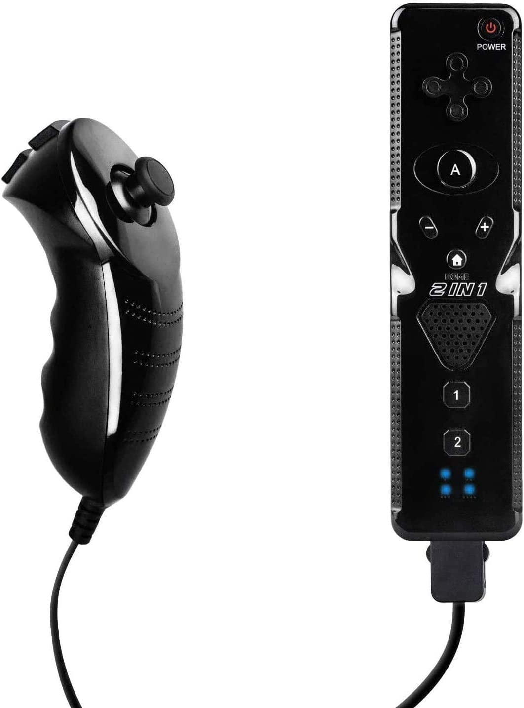 Wii Remote Controller and Nunchuck Controller Compatible for Nintendo Wii&Wii U Console Build-in Motion Sensor Plus (Black)