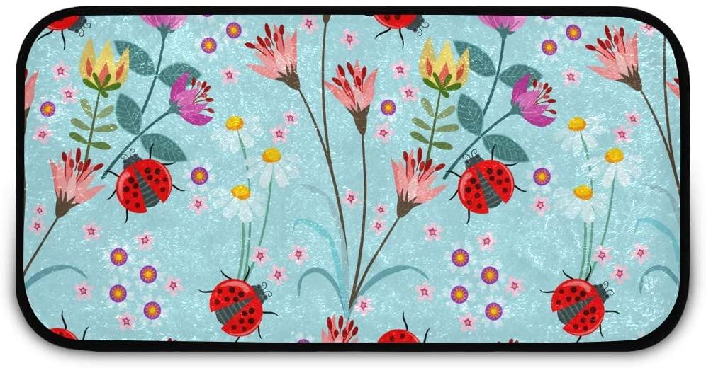 Rectangle Shaggy Rug Kitchen Rug for Kids Ladybug Flower Bedroom Anti-Slip Rug Rectangle Carpet Play Mat