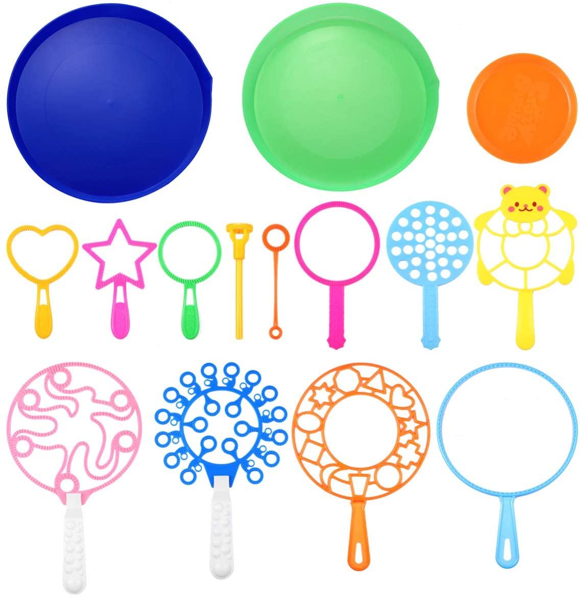 LIOOBO 15PCS Blowing Bubble Blowers Ring Toys Bubble Wand Sets Bubble Makers Toys for Kids Boys Girls,Random Color