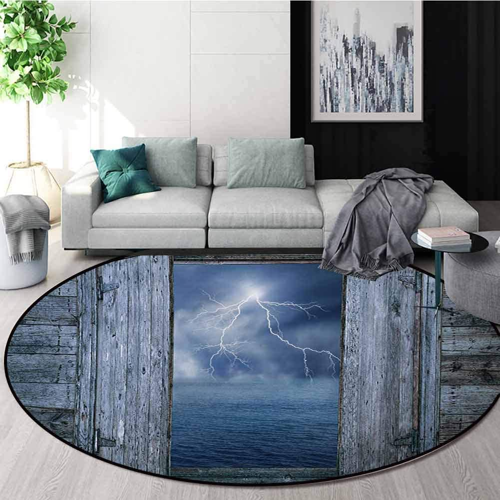 RUGSMAT Nature Super Soft Circle Rugs for Girls,Thunder Bolt at Night from Window in A Seaside House Forces of Nature Theme Print Baby Room Decor Round Carpets,Round-35 Inch Blue Grey