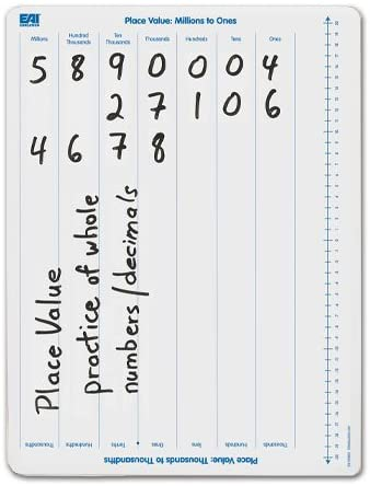 EAI Education Place Value: Millions to Thousandths Dry-Erase Board: Double-Sided - Set of 10