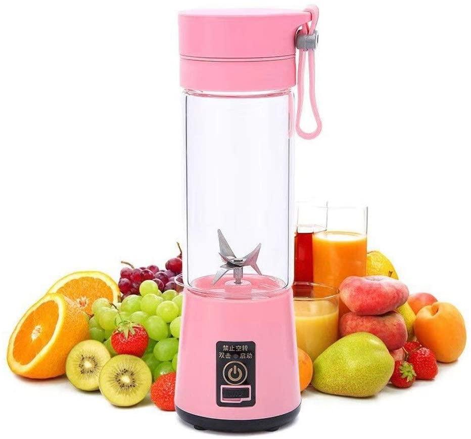 Slow Juicer Masticating,Multifunctional Centrifugal Juicer Machine,Easy To Clean Juicer,For Cold Press Juicer,Fruit Vegetables Drinks,380ML Portable USB Rechargeable (Color : Pink)