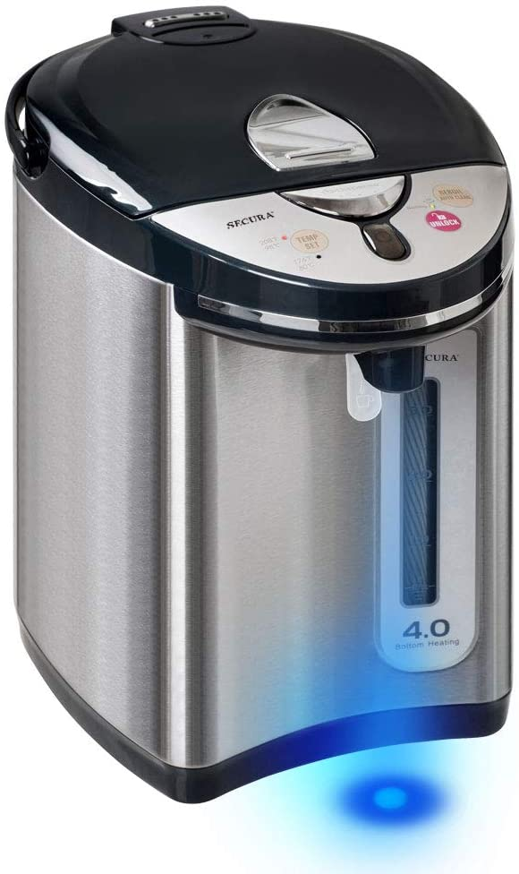 Secura Stainless Steel Water Boiler and Warmer w/Night light | Electric Kettle Water Heater, Tea Pot w/Auto Shut-Off Protection, 4-Quart