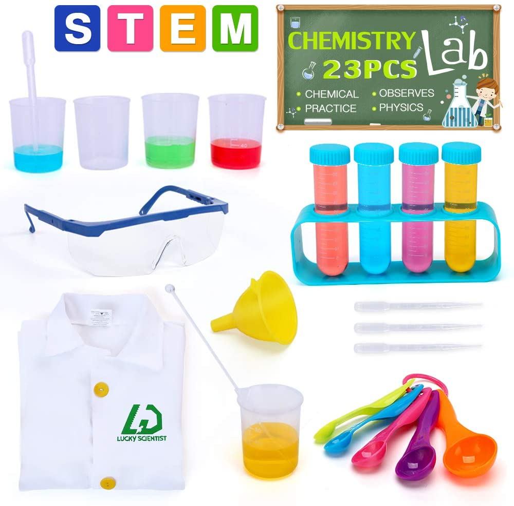 Lucky Doug Kids Science Experiment Kit with Lab Coat, 23PCS Scientific Experiments Tools Set for Lab Activity Experiments Classroom Costume Dress-up Role Play, Ages 3+