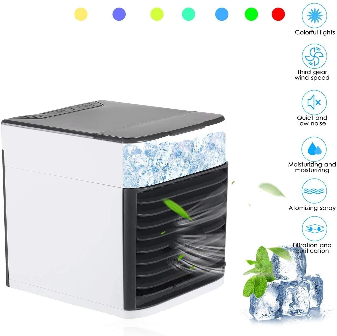 Elvoo Air Cooler Mini Portable Air Conditioner Fan Noiseless Evaporative Air Humidifier USB Personal Conditioner 3-Speed LED Night Office Childrens Room Bedroom Multifunction Cooler Purifier