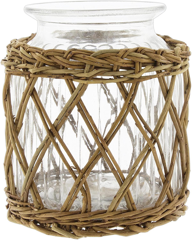 Lucky Winner Decorative Glass Jar in Wicker Basket, 7.5