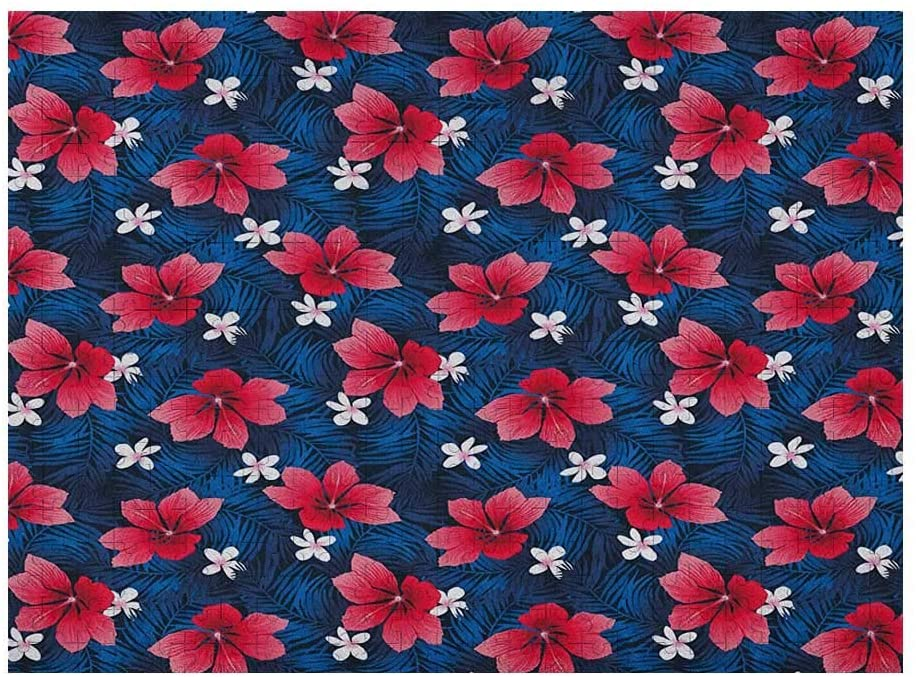 GugeABC Navy and Blush 3D Puzzle 1000 Piece, Exotic Flora Pattern with Hibiscus and Plumeria Blossoms Hawaiian, Navy Blue Dark Coral