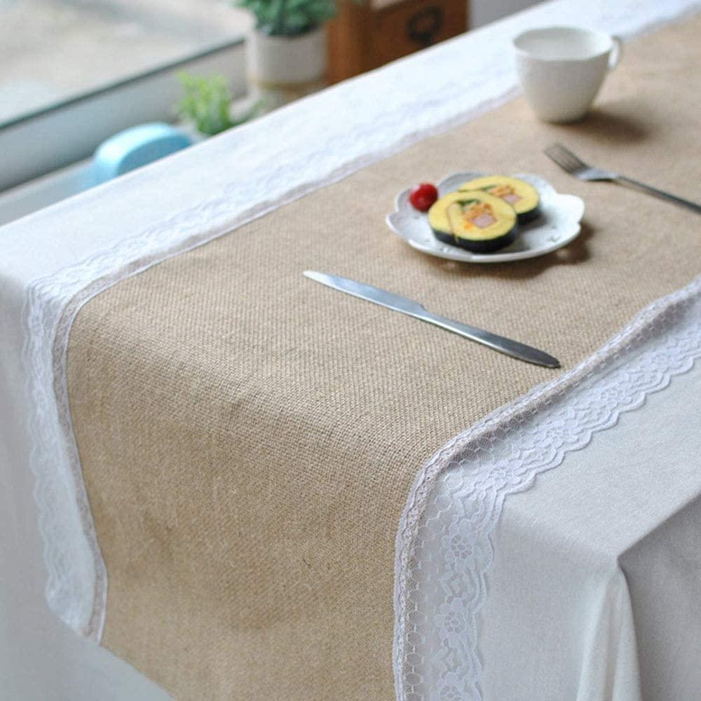 Washable table mat Lace Rectangle Table Runner Cotton Linen Home Decor For Wedding Decoration Heat-resistant anti-slip non-slip table mat (Color : Beige, Size : 12''x79'')