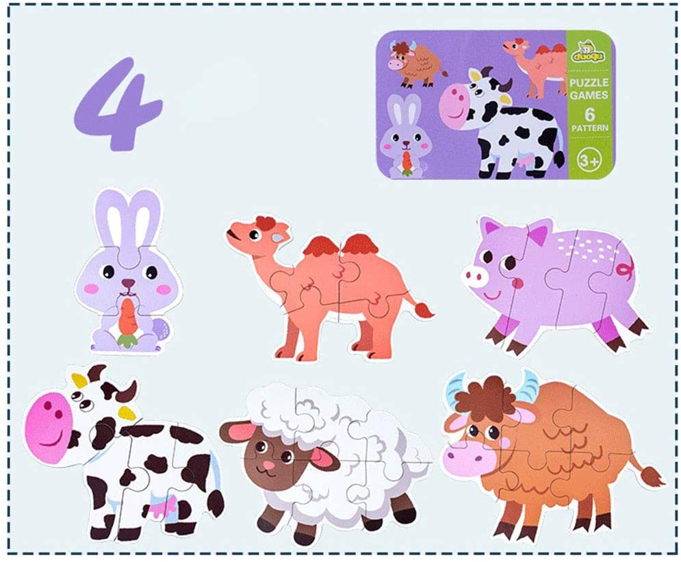 BeesClover 6 in 1 Kids Baby Cartoon Animal Pattern Puzzles Early Education Wood Toy Livestock Animal