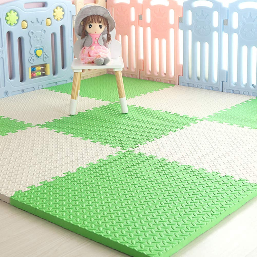 HOMRanger Solid Color Interlocking Carpet,Large Kid's Puzzle Exercise Foam Crawling Play Mat Puzzle Rug for Hard Floor Bedroom B 60602.0cm(4 Pcs)