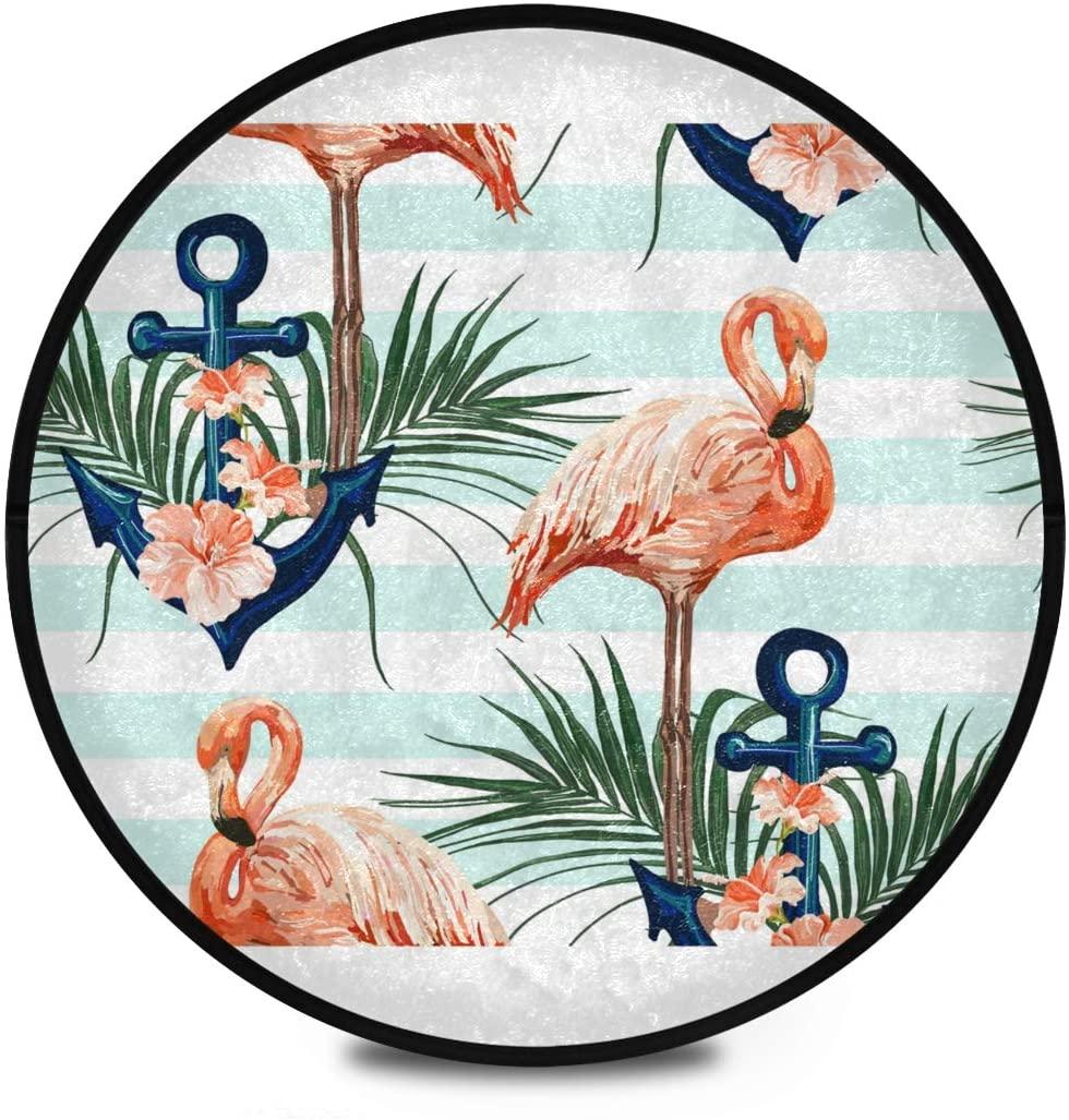 Shaggy Round Mat Flamingo Round Rug for Kids Living Room Anti-Slip Rug Room Carpets Play Mat