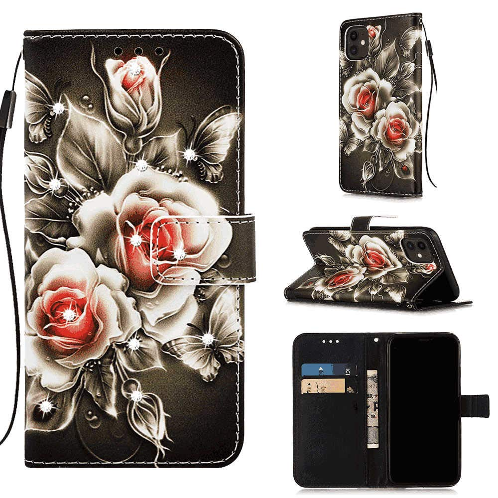 Stylish Cover Compatible with iPhone 11, flower2 Leather Flip Case Wallet for iPhone 11