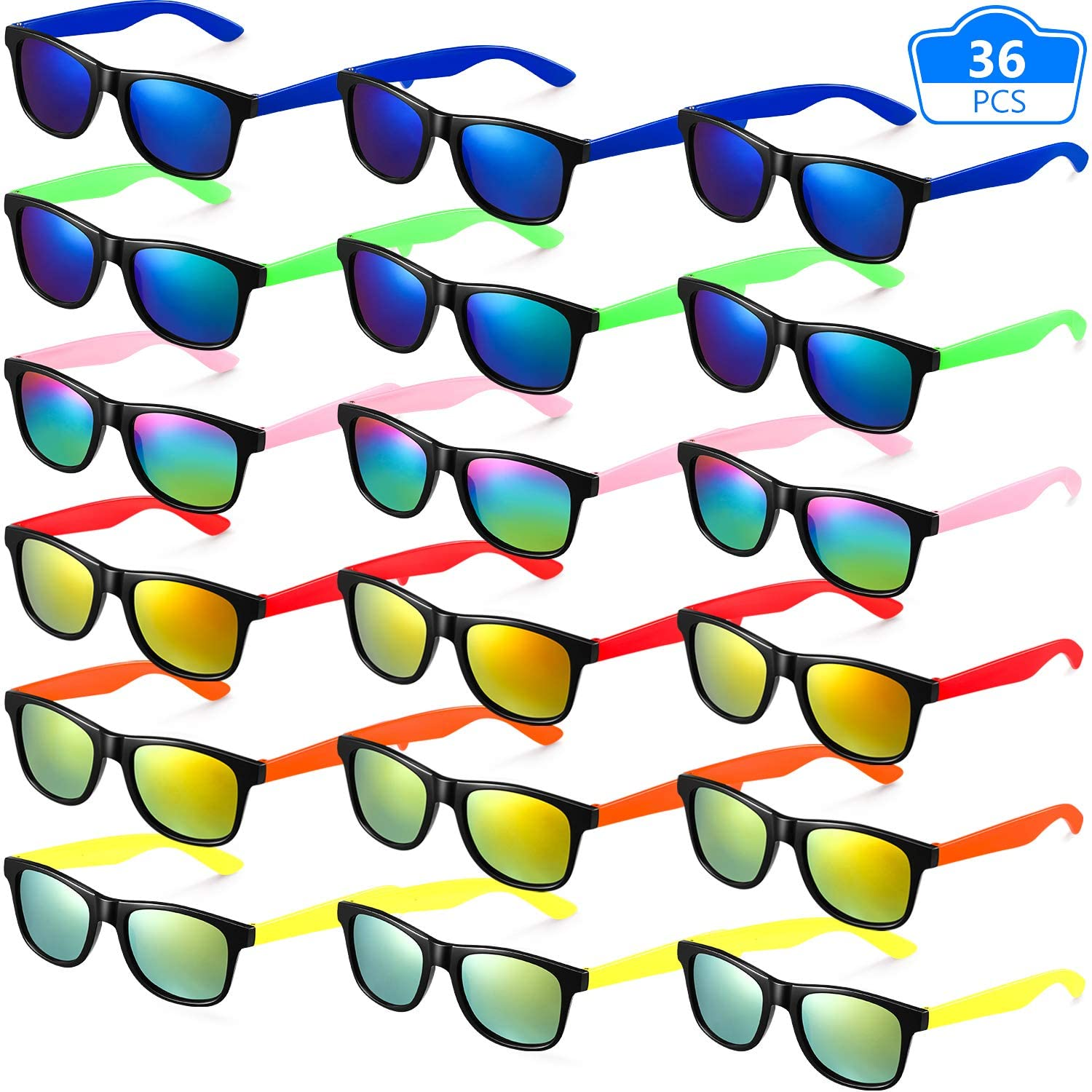 36 Pieces Neon Sunglasses Kids Sunglasses Party Favors Cool Colors Neon Sunglasses for Boys and Girls Birthday Graduation Party Supplies, Beach, Pool Party Favors