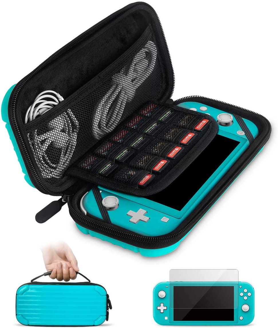 Carrying Case for Nintendo Switch Lite with Glass Screen Protector, Portable Hard Shell Travel Case Storage Bag for Nintendo Switch Lite Console and Accessories holds 10 Game Cartridges(Blue)
