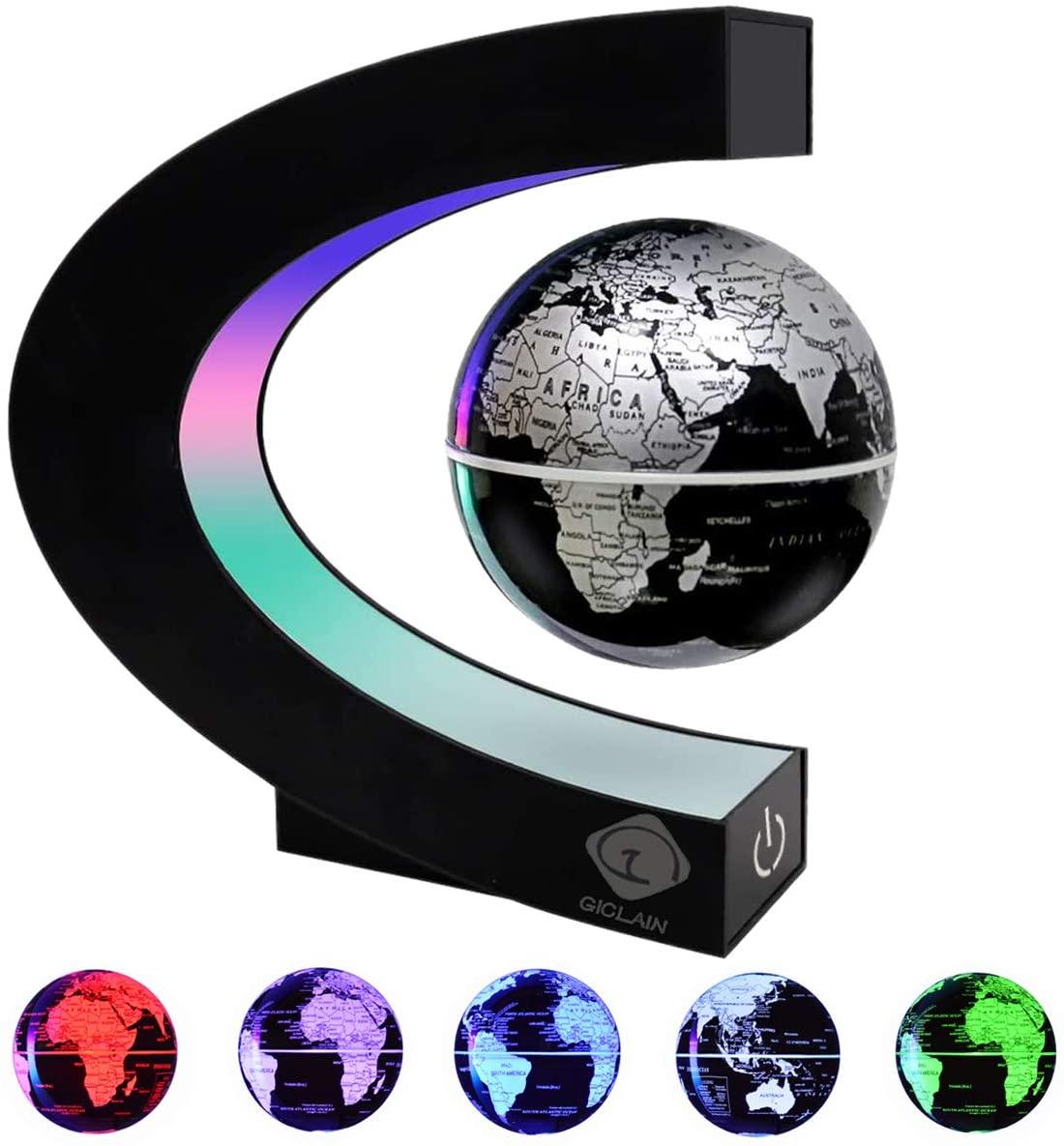 GICLAIN Floating Globe with LED Lights, Built in LED Illuminated C Shape Magnetic Levitation Globe World Map Unique Gifts for Home Office Desk Decoration Education Teaching Demo