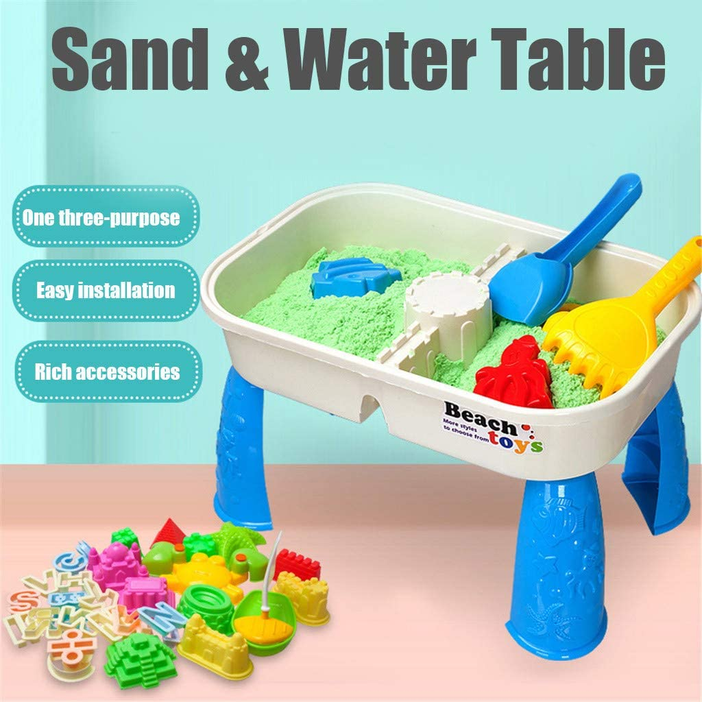 OKBOP Kids Sand & Water Table, 2 in 1 Play Table Summer Beach Toy Accessory, Outdoor Garden Sandbox Set, Toddlers Sandbox Toys, Children Playing Pool Table