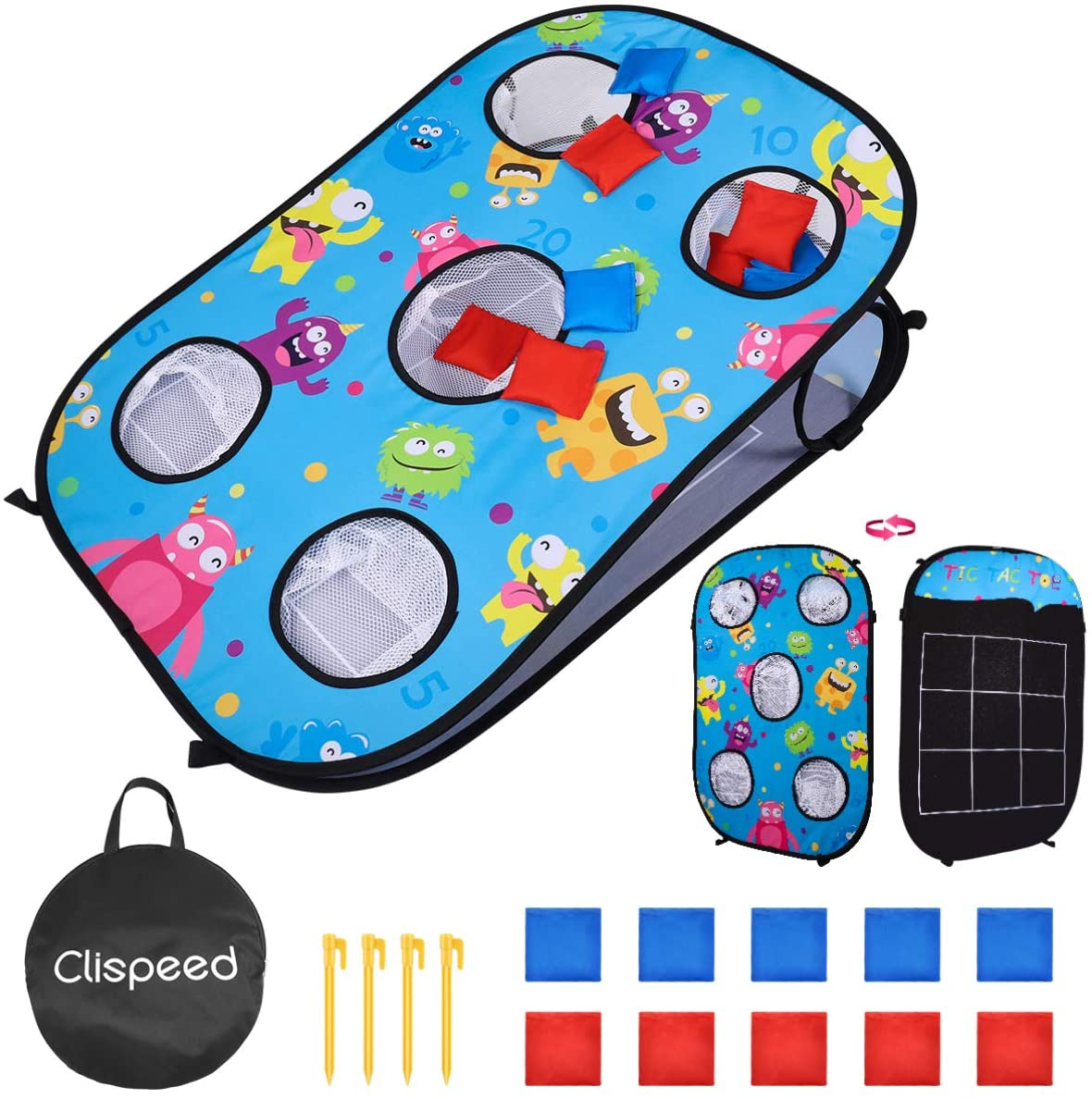 CLISPEED 5 Holes Cornhole Game Set Play Bean Bags Toy Throwing Bags Tossing Game with 10 Bean Bags,Tic Tac Toe Game Double Games for Kids Children 90 x 60 x 20 cm