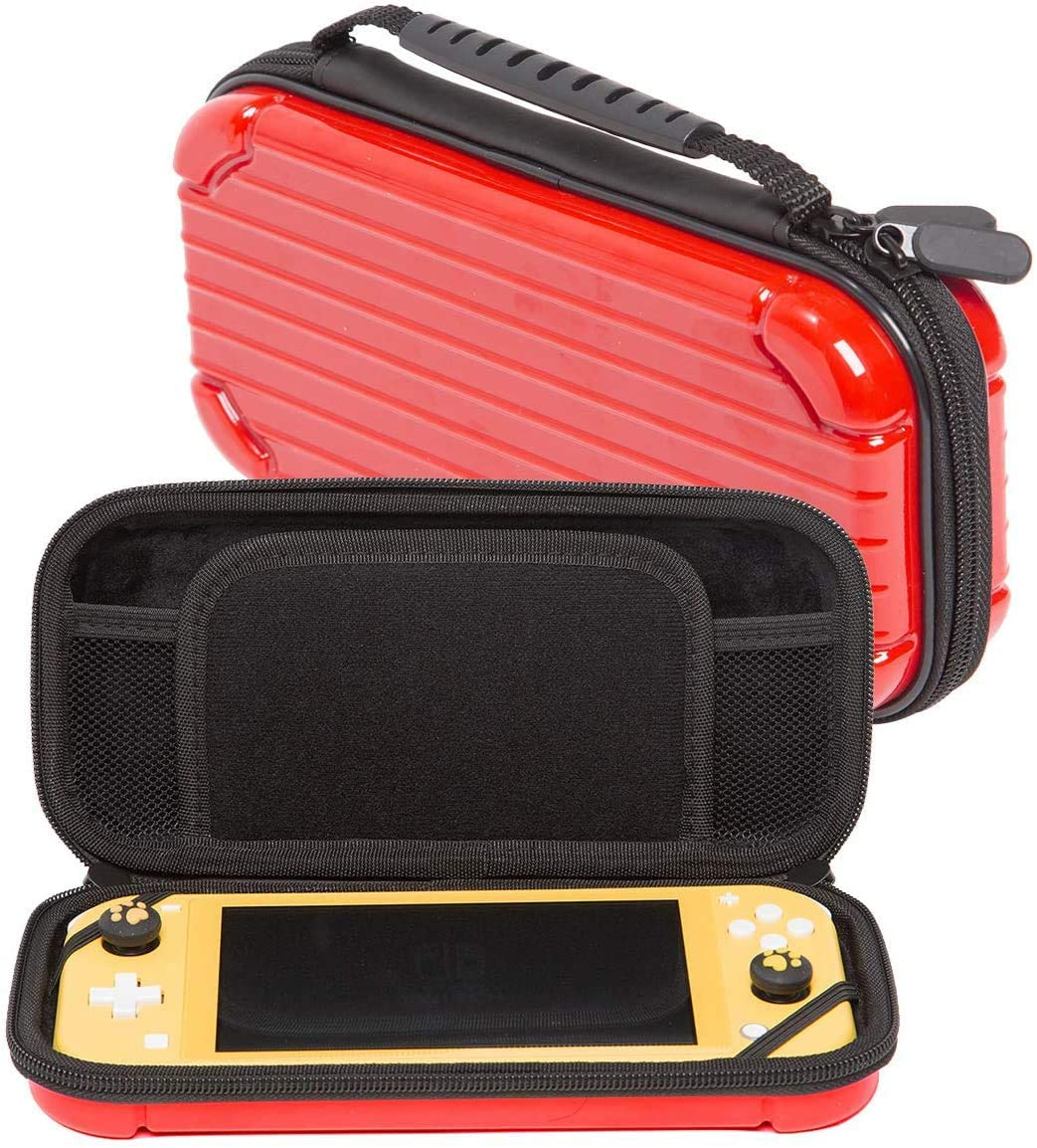 Nintendo Switch Travel Case, Portable Hard Shell Travel Carrying Bag, Switch Lite Waterproof Case Cover with Storage for Switch Lite Console & Accessories & Game Cards-Red