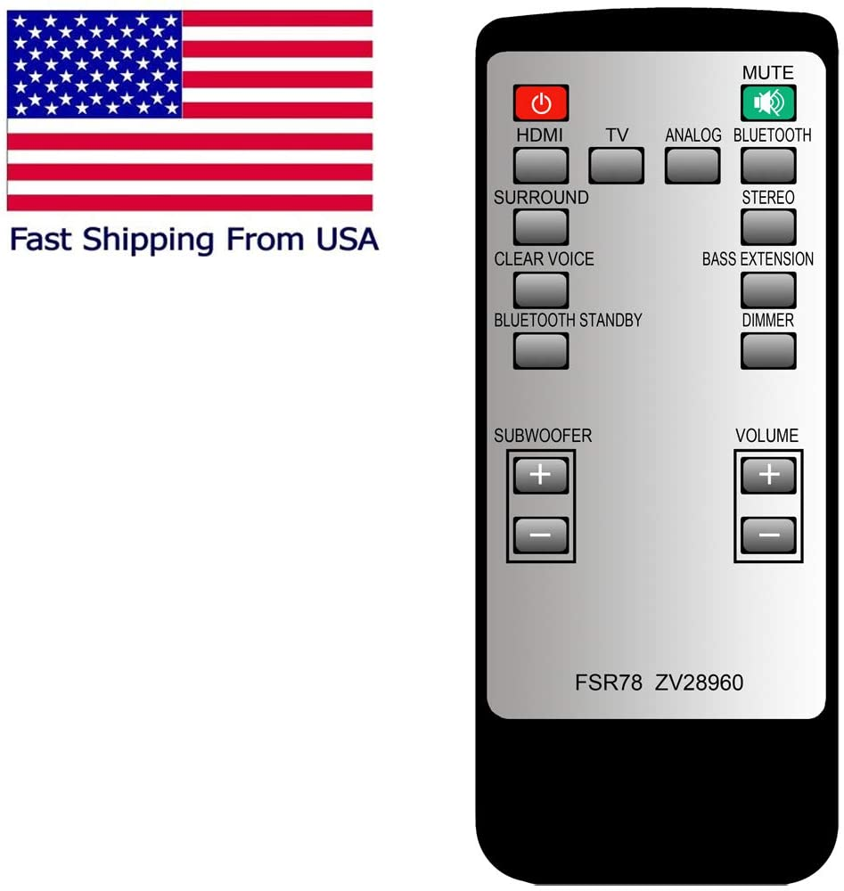 CHOUBENBEN Replacement for Yamaha FSR78 Sound Bar Remote Control for ATS-1060, YAS-106 (ZV28960)