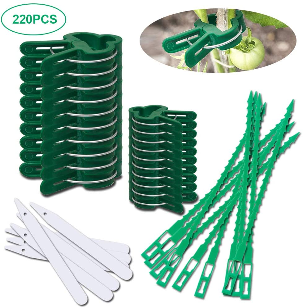 220PCS Plant Support Clips for Tomato Vine Flower, 2 Size Reusable Plant Supports Tool Kit include Adjustable Plant Ties and Plastic Plant Label for Supporting or Straightening Plant Stems