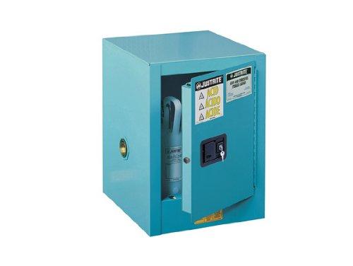 Justrite 890422 Sure-Grip EX Galvanized Steel 1 Door Self-Close Countertop Corrosives Safety Storage Cabinet, 4 Gallon Capacity, 17