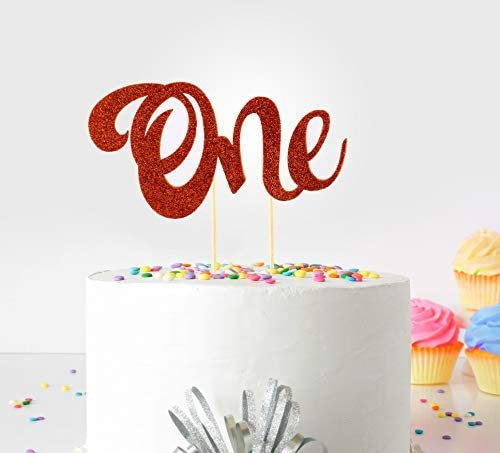 1st (First Birthday Cake Topper Decoration (Orange) - One - with Double Sided Glitter Stock)