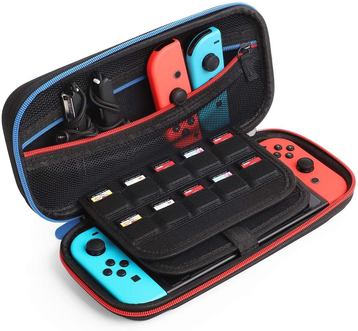 Kootek Travel Carrying Case for Nintendo Switch, 20 Games Cartridges & Zipper Mesh Pocket Protective Hard Shell Carry Cases for Nintendo Switch Console & Accessories, Black