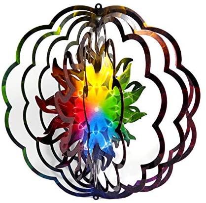 WorldaWhirl Whirligig 3D Wind Spinner Mandala Sun Burst Yard Twister Hand Painted Stainless Steel (12 Inch)