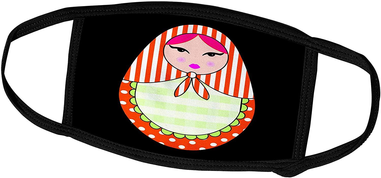 3dRose Janna Salak Designs Dolls - Cute Russian Matryoshka Nesting Doll Pink Hair - Warm Colors Black - Face Masks (fm_58638_3)