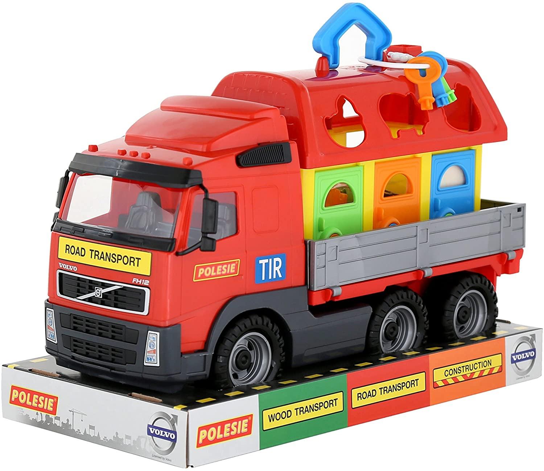 Polesie Polesie58263 Volvo Powertruck Ramp Truck with Pets House (Tray) -Toy Vehicles, Multi Colour