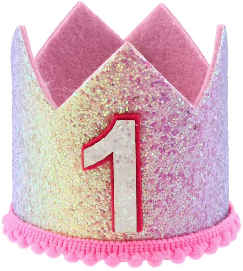 NUOBESTY 1st Birthday Crown Glitter Baby Girl Princess Headband 1st Birthday Party Hat for Kids Toddlers Adults Birthday Baby Shower Party Supplies