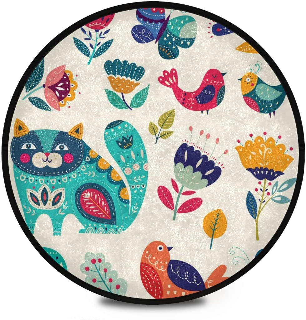 Shaggy Round Mat Cartoon Animal Pattern Small Round Rug for Kids Bedroom Anti-Slip Rug Room Carpets Play Mat