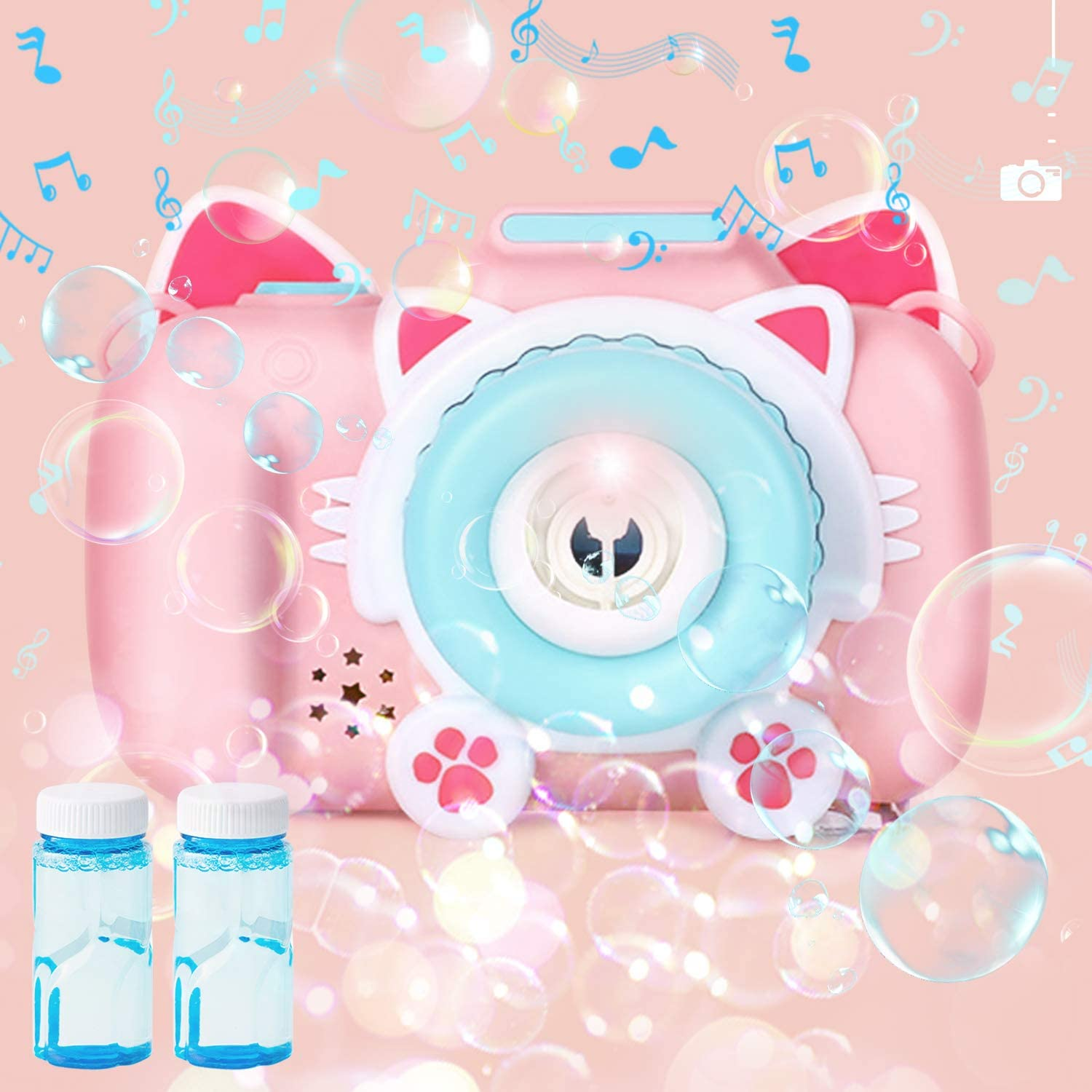 CONDFUL Bubble Machine for Kids, Lovely Cat Bubble Toys with 2 Bubble Refill Solution, Closable Music Bubble Gun with Colorful Gradient Light, Kids Bubble Machine for Outdoor/Indoor Party Birthday