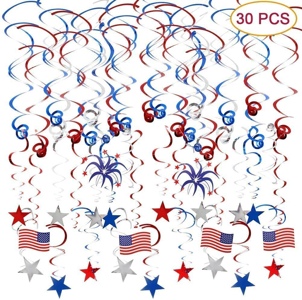 4th of July Patriotic Decorations, Patriotic Hanging Swirl Streamers(30 PCS) with USA Flag/Stars Red White Blue,Fourth of July Party Favors for Patriotic Theme Decoration, Patriotic Party Supplies.