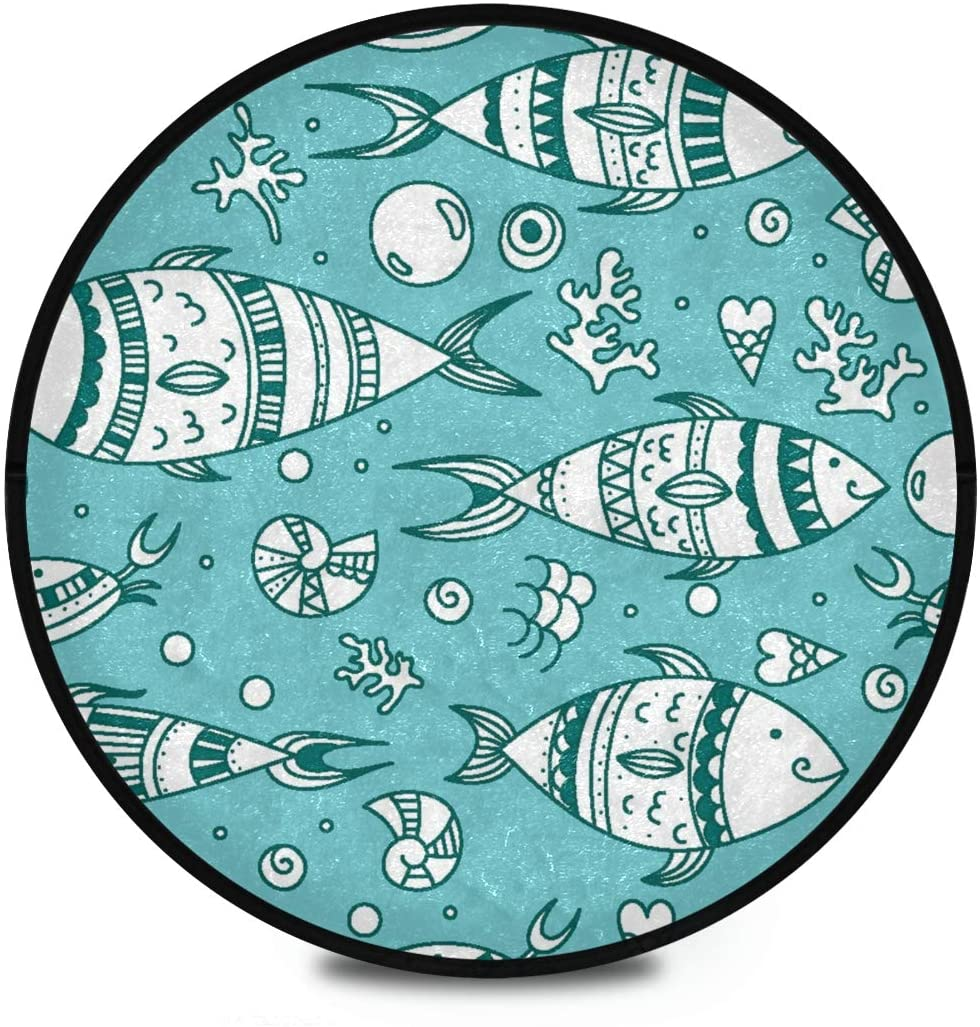 Shaggy Round Mat Cute Marine Animal Fish Small Round Rug for Kids Playroom Anti-Slip Rug Room Carpets Play Mat