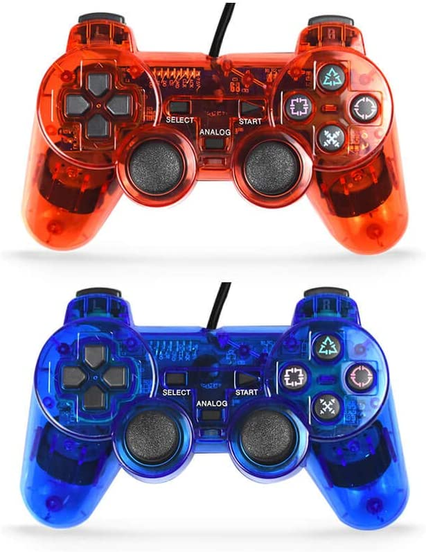 Skrer Wired Gaming Controller for Playstation 2,Double Shock Gamepad for Ps2,Pack of 2 (Clear red+Clear Blue)