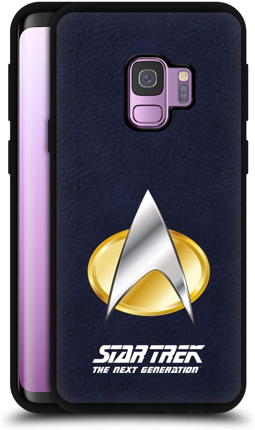 Head Case Designs Officially Licensed Star Trek The Next Generation Logo Blue Leather Back Case Cover Compatible with Samsung Galaxy S9