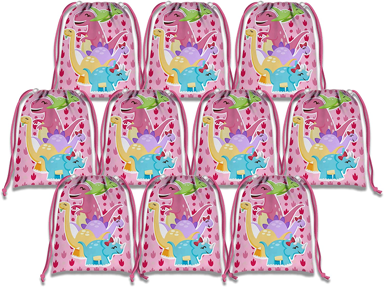 Pink Dinosaur Girl Dino Drawstring Bags Kids Birthday Party Supplies Favor Bags 10 Pack