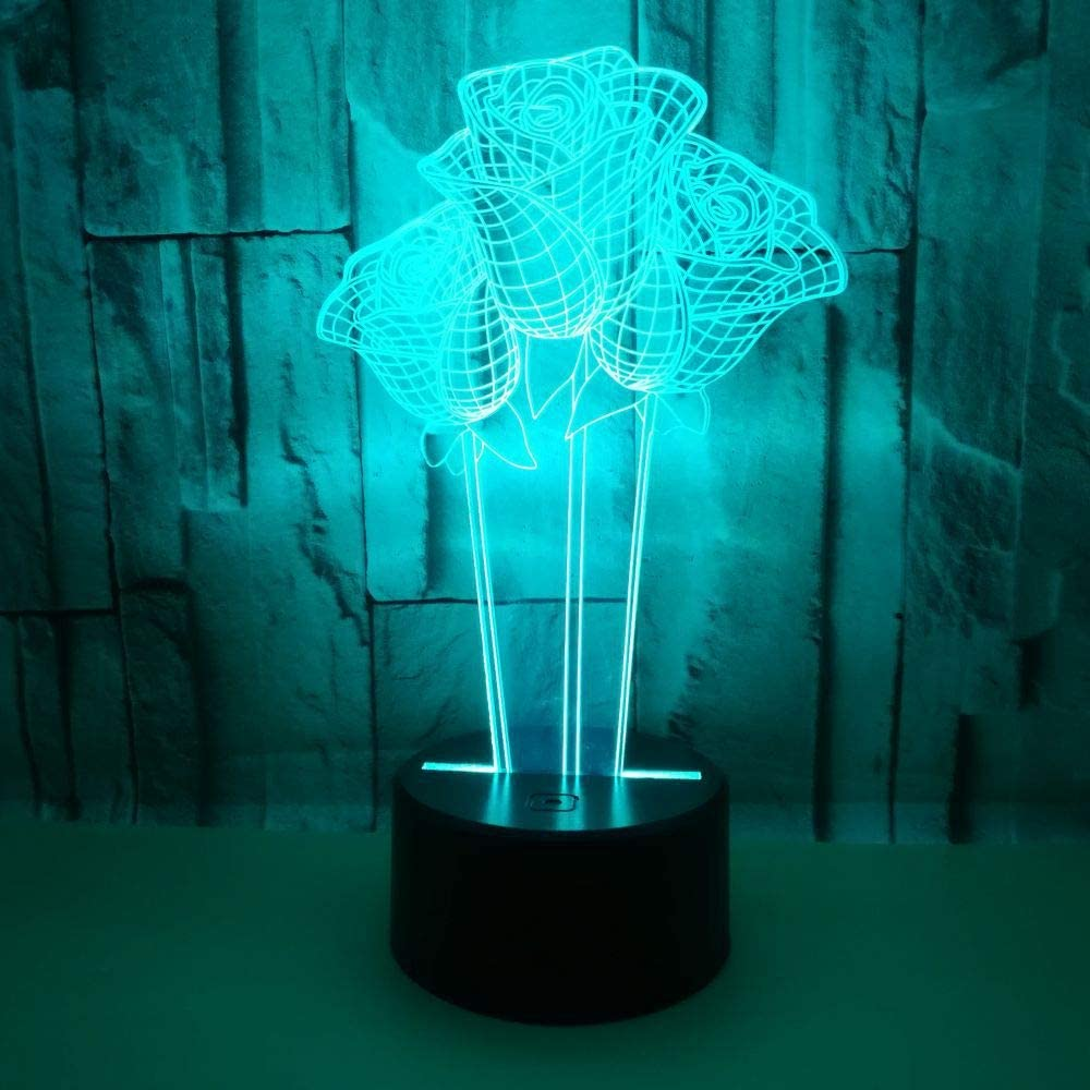 Led8N 3D LED Optical Illusion Lamps Night Light,7 Colour Changing LED Bedside Lamps for Kids with Acrylic Flat,ABS Plastic Base,USB Charger Rose