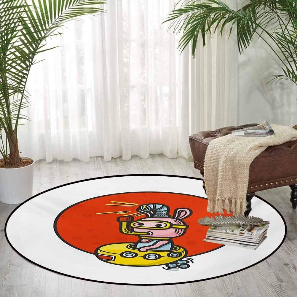 Yellow Submarine Washable Carpet Round Rug Little Alien Cartoon in Spaceship with Periscope Over Red Moon Planet Kids White Red 5.2 ft in Diameter