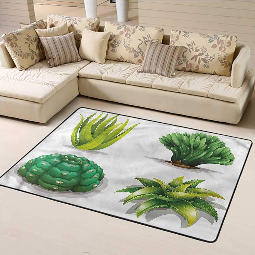 Carpet Succulent, Aloe Vera Plants Cacti Multi Color Carpet for Kids Nursery 6 x 9 Feet
