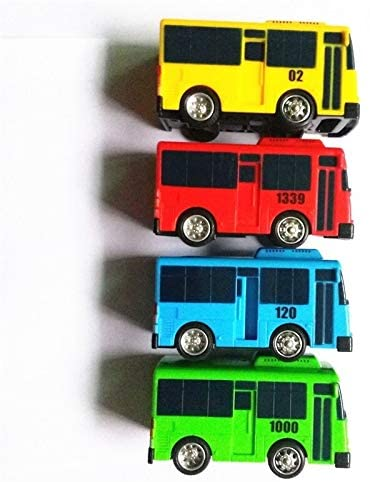 ZALE Oversized Toys Pull Back Car, Korean Cartoon Bus Model 4 Pack Mini Plastic Vehicle Set, Pull Back Truck and Car Toys ,for Boys Kids Child Party Favors, Die Cast Car Toy Play Set Swing